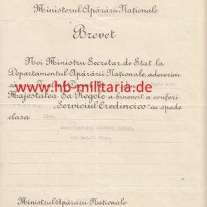 IMG 0001 2 300x300 - Verleihungsurkunde Rumänien an Pionier der Wehrmacht Kreuz für Treue Dienste 2. Klasse mit Schwertern für einen Unteroffizier der Wehrmacht
