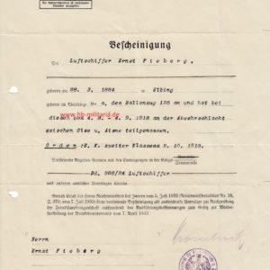 IMG 0001 300x300 - Bescheinigung für das Eiserne Kreuz 1914, für einen Luftschriffer im Ballonzug.