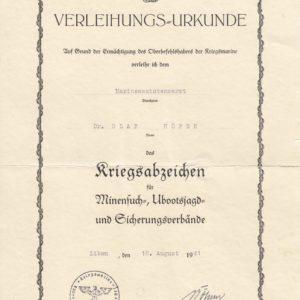 IMG 0001 2 300x300 - Verleihungsurkunde Kriegsabzeichen für Minensuch- UBootsjagd und Sicherungsverbände