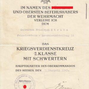 IMG 0001 1 300x300 - Urkunde Kriegsverdienstkreuz 2 Klasse mit Schwertern. OU Rudolf Gercke.