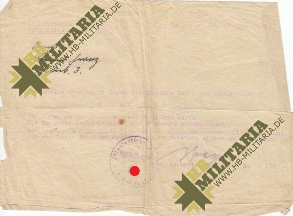 IMG 0003 600x443 - Besitzzeugnis Infanteriesturmabzeichen in Silber- VERKAUFT- SOLD