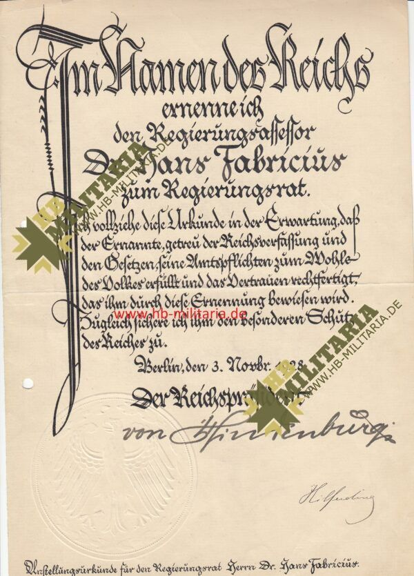 IMG 0004 600x835 - Urkunde zur Ernennung zum Regierungsrat mit OU Paul von Hindenburg- VERKAUFT- SOLD