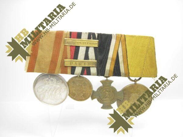 IMG 8107 Kopie 600x450 - Preussen: Ordensschnalle Medaille Verdienste um den Staat. Erinnerungskreuz Königgrätz, Gefechtsspangen Gravelotte, Paris, Zentarmedaille, Kriegsdenkmünze 1870/71