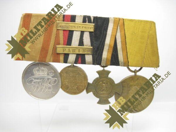 IMG 8108 Kopie 600x450 - Preussen: Ordensschnalle Medaille Verdienste um den Staat. Erinnerungskreuz Königgrätz, Gefechtsspangen Gravelotte, Paris, Zentarmedaille, Kriegsdenkmünze 1870/71