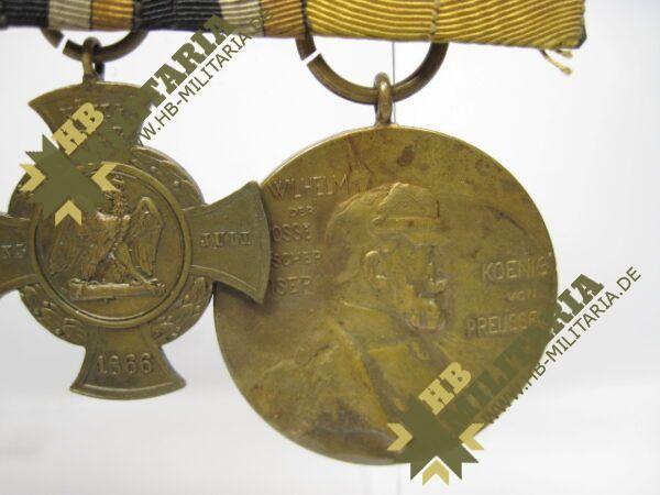 IMG 8112 600x450 - Preussen: Ordensschnalle Medaille Verdienste um den Staat. Erinnerungskreuz Königgrätz, Gefechtsspangen Gravelotte, Paris, Zentarmedaille, Kriegsdenkmünze 1870/71