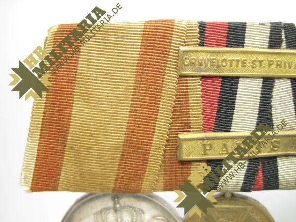 IMG 8114 600x450 - Preussen: Ordensschnalle Medaille Verdienste um den Staat. Erinnerungskreuz Königgrätz, Gefechtsspangen Gravelotte, Paris, Zentarmedaille, Kriegsdenkmünze 1870/71