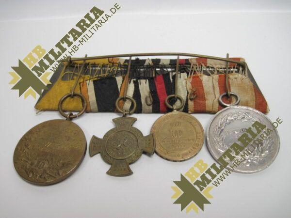 IMG 8116 600x450 - Preussen: Ordensschnalle Medaille Verdienste um den Staat. Erinnerungskreuz Königgrätz, Gefechtsspangen Gravelotte, Paris, Zentarmedaille, Kriegsdenkmünze 1870/71