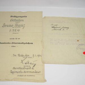 IMG 8154 300x300 - Besitzzeugnis Infanteriesturmabzeichen in Silber