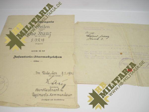 IMG 8154 600x450 - Besitzzeugnis Infanteriesturmabzeichen in Silber- VERKAUFT- SOLD