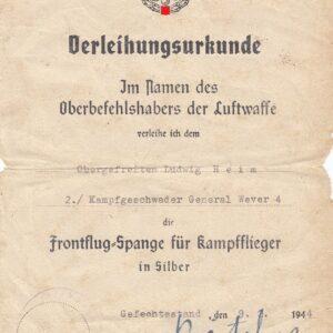 IMG 20200916 0002 300x300 - Verleihungsurkunde zur Frontflugspange für Kampffliger in silber OU Hansgeorg Bätcher
