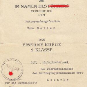 IMG 20200916 0035 300x300 - Urkunde für das Eiserne Kreuz 2. Klasse Kriegsmarine Atlantikküste