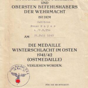 IMG 20201015 0002 300x300 - Urkunde Winterschlachtmedaille im Osten 1941/42