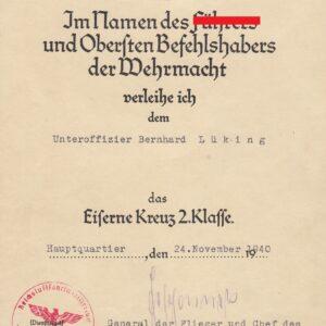 IMG 20201028 0004 300x300 - Urkunde Eisernes Kreuz 2. Klasse mit OU Hans Jeschonnek
