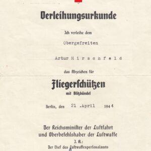 IMG 20201209 0005 300x300 - Urkunde für einen Obergefreiten und Fliegerschützen des Stuka- Geschwaders 1