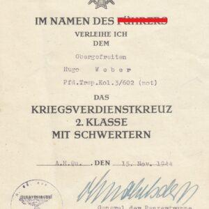 IMG 20210320 0004 300x300 - Urkunde für das KVK 2. Klasse mit Schwerter. OU Schwerterträger Otto von Knobelsdorff. 19. Panzerdivision.