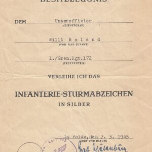 IMG 20210401 0051 300x300 - Urkunde Infanterie- Sturmabzeichen. OU Graf v. d. Schulenburg.